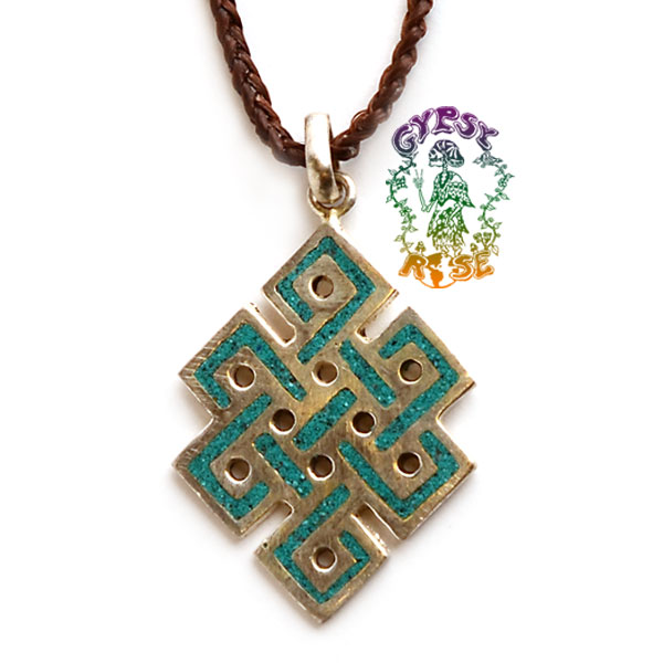 silvertone endless knot pendant w inlay necklace