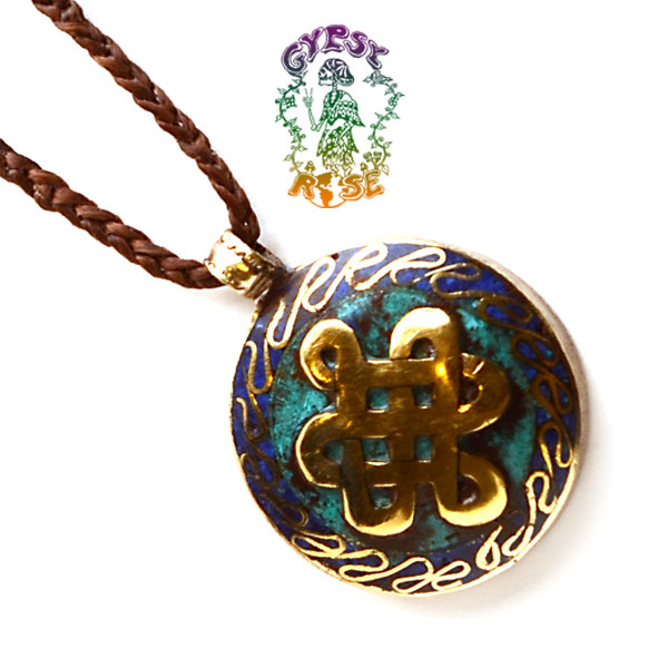 essential endless knot pendant w inlays necklace