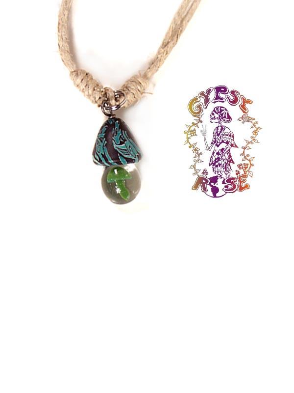 Hemp fimo glass mushroom necklace gypsy rose hemp fimo glass mushroom necklace mozeypictures Gallery