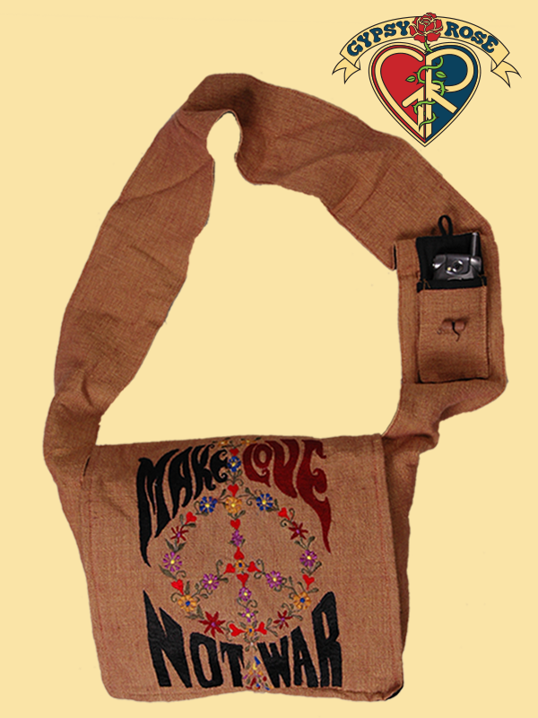 Make Love Not War Peace Embroidered Dj Cotton Bag