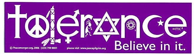 Tolerance In Symbols Bumper Sticker Gypsy Rose