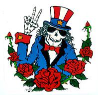 Uncle Sam Top Hat Skeleton Peace Sign Sticker Gypsy Rose