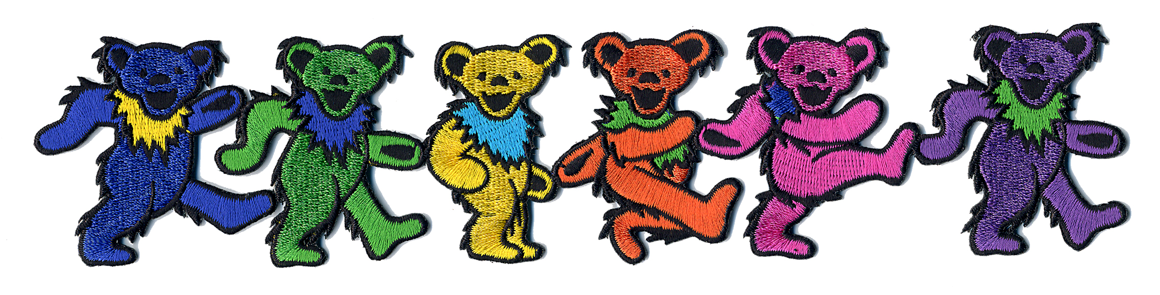 327263f4691 GRATEFUL DEAD 6 RAINBOW DANCING BEARS IN LINE PATCH  Gypsy Rose