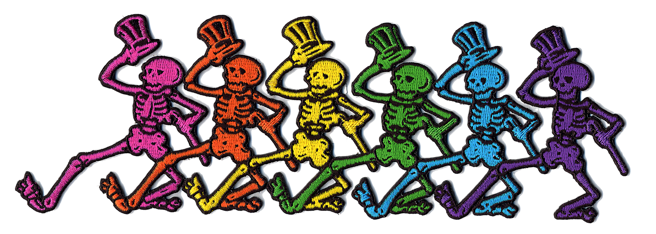 grateful dead xl rainbow skeletons in line patch gypsy rose