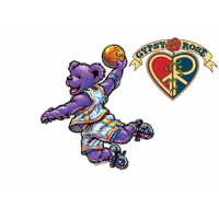 GRATEFUL DEAD DANCING BEAR PURPLE BASKETBALL STAR STICKER