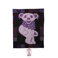 GRATEFUL DEAD CALICO DANCING BEAR ON RECYCLED PATCHWORK CORDUROY QUILT