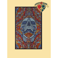 3D Mindful Mouth Open Skull Tapestry