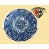 Friendly Elephant Mandala Round Tapestry Tablecloth