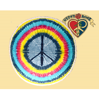 Don't Stop Believing Tye Dye Peace Sign Round Tapestry Tablecloth
