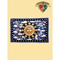 PSYCHEDELIC ZODIAC SUN HORIZONTAL TWIN TAPESTRY - BEDSPREAD