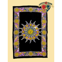 PSYCHEDELIC ZODIAC SUN VERTICAL TWIN TAPESTRY - BEDSPREAD