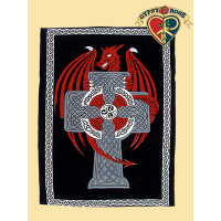 CELTIC DRAGON & CROSS TWIN TAPESTRY - BEDSPREAD