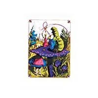 ALICE IN WONDERLAND WITH CATERPILLAR ON MUSHROOM WINDOW STICKER