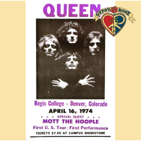 QUEEN 1974 REGIS COLLEGE COLORADO CONCERT POSTER