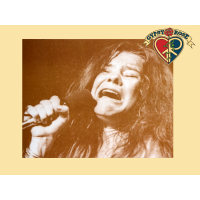 Janis Joplin with Microphone Mini Poster