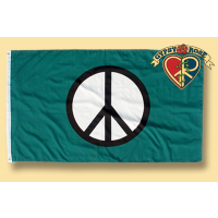 GREEN WITH PEACE SIGN FLAG