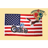 USA Motorcycle Eagle Flag