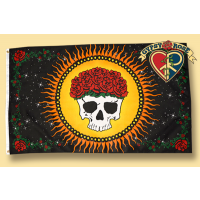 GRACIOUSLY DEPARTED SKULL WITH SUN & ROSES FLAG