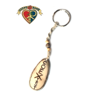 Coexist Hand Carved Bone Pendant On Hemp Keychain