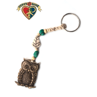 Wise Up Owl Hand Carved Bone Pendant On Hemp Keychain