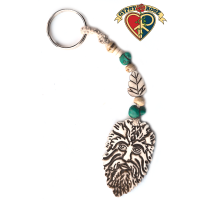 Green Man Hand Carved Bone Pendant On Hemp Keychain
