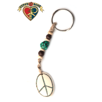 Oval Peace Gemstone Inlay Hand Carved Bone Pendant On Hemp Keychain