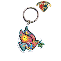 Dove, Earth, Sun, Moon Keychain