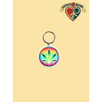 Rainbow Pot Leaf Keychain