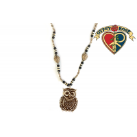 Owl Carved Bone Bead Pendant Necklace