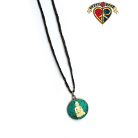 Buddha Gemstone Inlay And Metal Pendant On Braided Cord Necklace