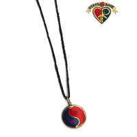 Yin Yang Gemstone Inlay And Metal Pendant On Braided Cord Necklace