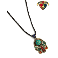 Hamsa Hand Gemstone Inlay And Metal Pendant On Braided Cord Necklace