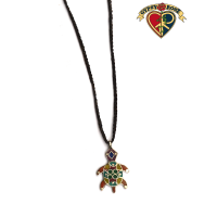 Turtle Stone Powder Inlay And Metal Pendant On Braided Cord Necklace