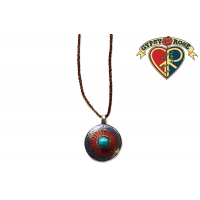 GEMSTONE SETTING & INLAY MANDALA ON LEATHER CORD NECKLACE