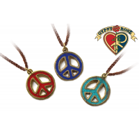 ASST COLOR GEMSTONE INLAY PEACE PENDANT ON LEATHER NECKLACE