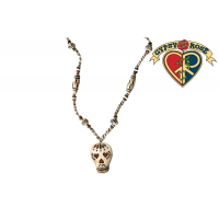 DAY OF THE DEAD SKULL CARVED BONE PENDANT NECKLACE
