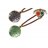 Lotus Mandala Crushed Stone Inlay Pendant Necklace