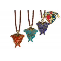 Butterfly Metal With Crushed Stone Inlay Pendant Necklace
