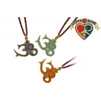 Cutout Om Metal With Crushed Stone Inlay Pendant Necklace