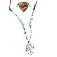 Tree Of Life Crushed Stone Inlay Bone Pendant Necklace