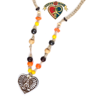Love Light Enlightenment Buddha Heart Hemp Bone Bea Necklace