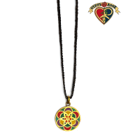 Seven Chakra Wheel Of Life Stone Powder Inlay And Metal Pendant On Braided Cord Necklace
