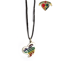 Seven Chakra Good Lovin Stone Powder Inlay And Metal Pendant On Braided Cord Necklace