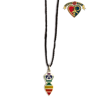 Seven Chakra Earth Goddess Stone Powder Inlay And Metal Pendant On Braided Cord Necklace