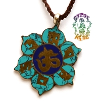 OM MANI PADME HUM DIVINE LOTUS FLOWER BRASS & GEMSTONE NECKLACE