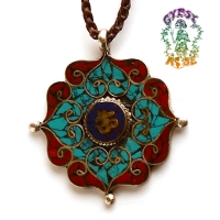 INNER OM MANDALA WITH GEMSTONES PENDANT NECKLACE