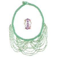 Pyramid Club Multi-strand Glass Bead Necklace