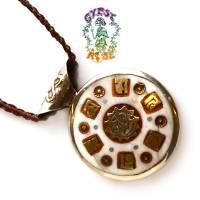 Auspicious Awakening Stone and Metal 2-Sided Pendant Necklace