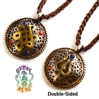 Endless Devotion Brass and Bronze 2-Sided Pendant Necklace