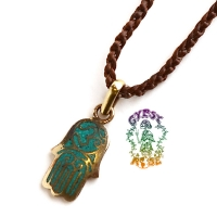 Protection For The Peaceful Wanderer Stone and Metal Hamsa Hand Pendant Necklace